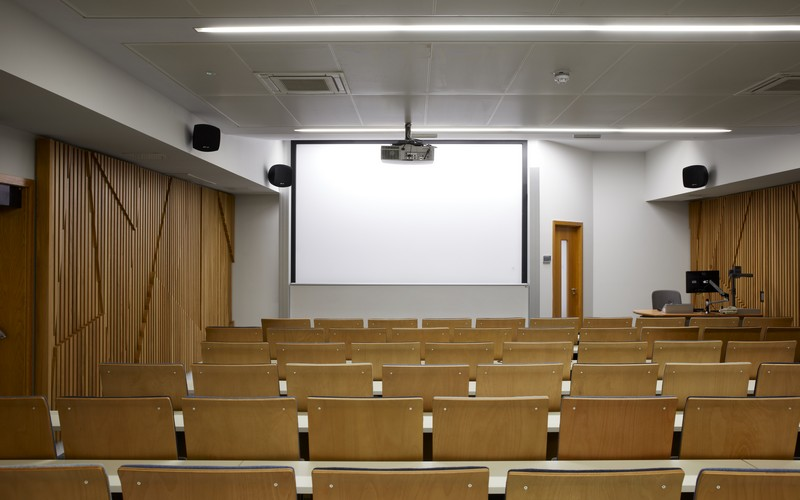 UCL Venues Torrington Place Training Centre Lecture Theatre Rear View Screen Audio and Host Lecturn