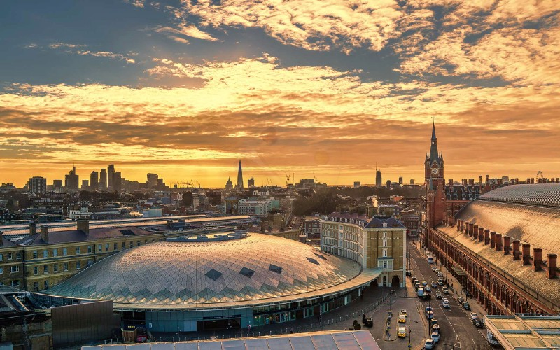 View of London St Pancras station at dusk