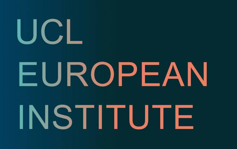 Navy blue rectangle with UCL EUROPEAN INSTITUTE in orange