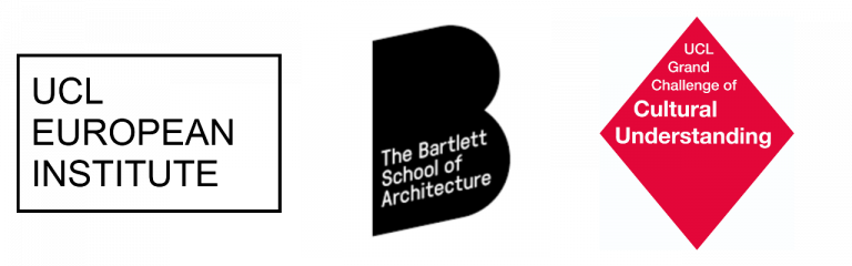 UCL European Institute Logo, Bartlette School of Architecture Logo, UCL Grand Challenges Cultural Understanding Logo