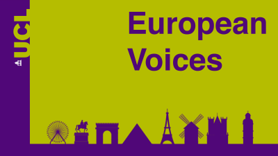 European Voices logo in purple and green
