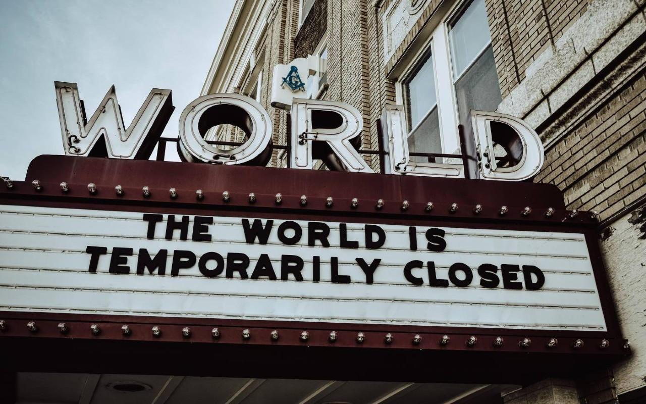 World Closed Cinema Sign