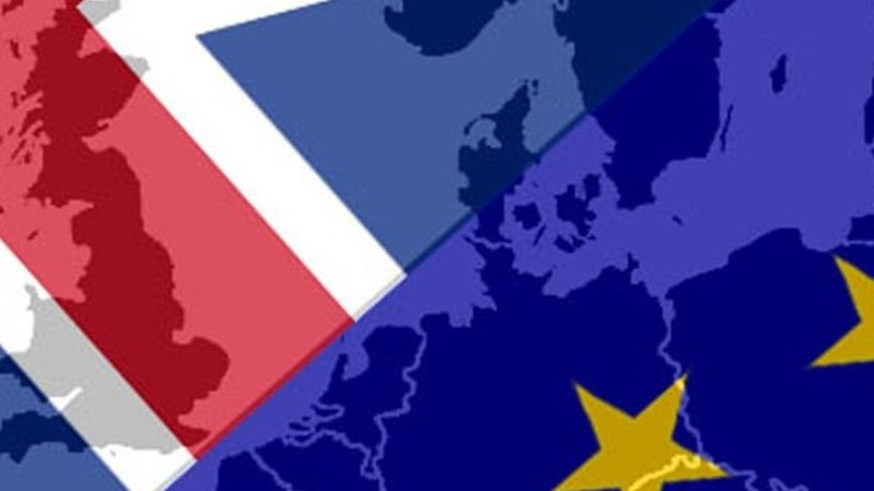 Brexit Hub image, a UK and EU flag overlaid by a silhouette of a map of the UK