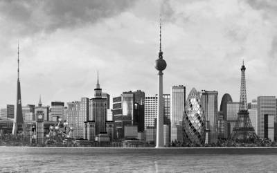Pan-Europe cityscape in black and white