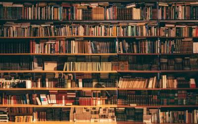 academic library shelves