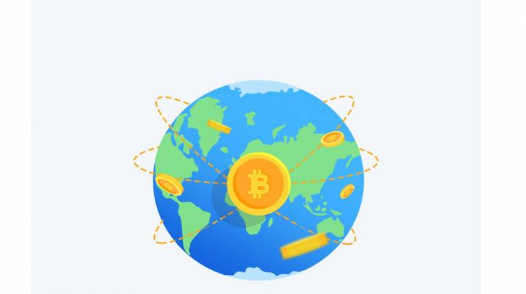 image of a globe with a B in the middle to represent bitcoin