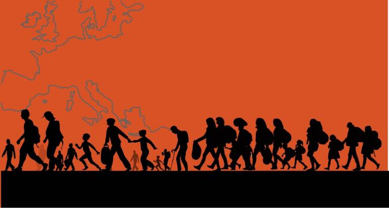 People walking in a line in silhouette against the background of a map of Europe in red