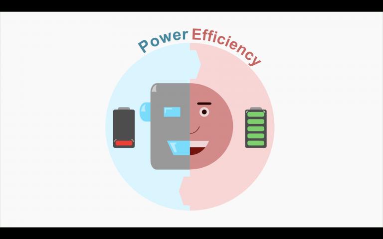 Cartoon drawing of half robot half person under the text power efficiency