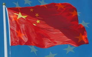 Chinese Flag overlaying the EU Flag