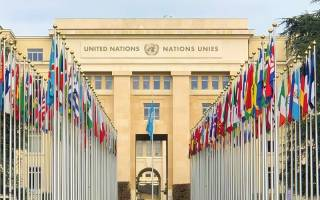 Flags in front of the United Nations building, Geneva