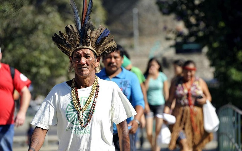 Indigenous campaigner at the Rio+20 Earth Summit in Rio de Janeiro
