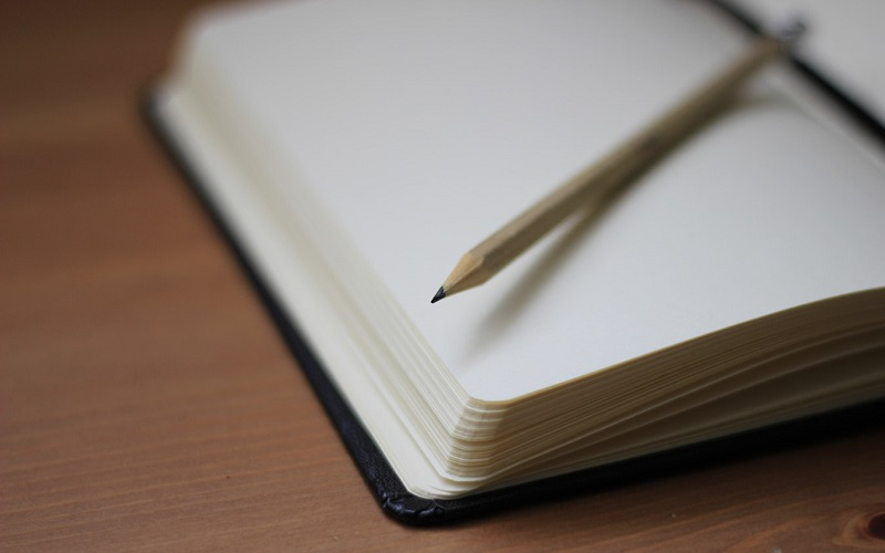 Pencil on top of an open notebook