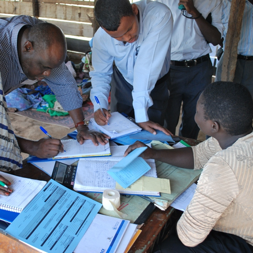 Researchers on a supplementary feeding programme in Uganda