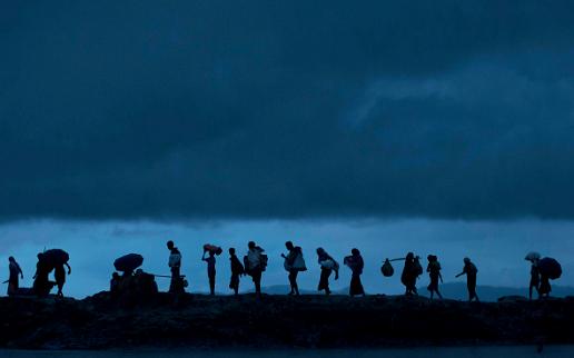 Migrants walking
