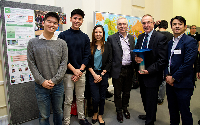 UCL student winners of the Hult Prize with UCL Provost Prof Michael Arthur