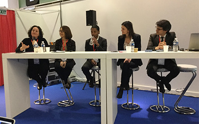 Dr Karen Edge with panellists from French higher education institutions at RUE 2017…