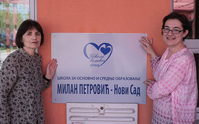 Dr Alexandra Perovic (right) with Slavica Markovic, head of Dr Milan Petrovic Primary & Secondary School, in Novi Sad, Serbia…
