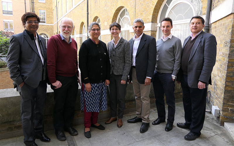 UCL academics greet the delegation from the Indian Institute of Astrophysics