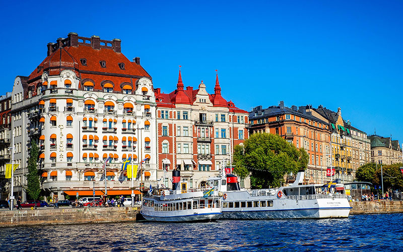 Buildings on the waters edge in Stockholm
