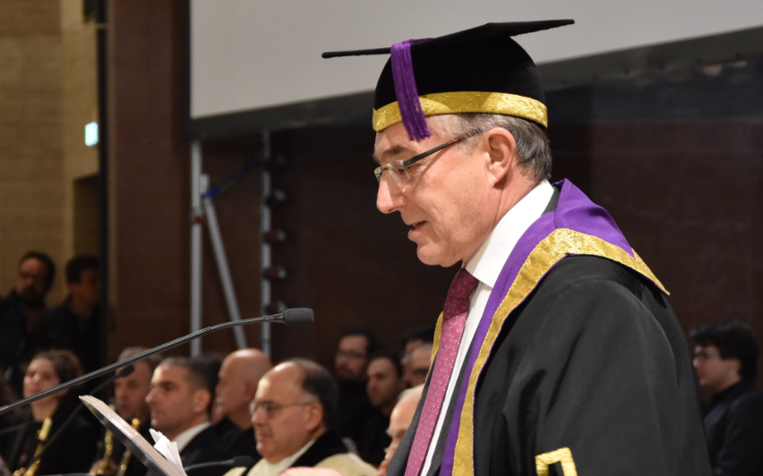 UCL Provost delivering a speech at Sapienza University