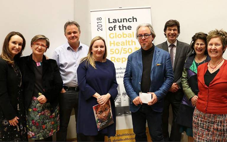 Panel members at the Global Health 50/50 report launch