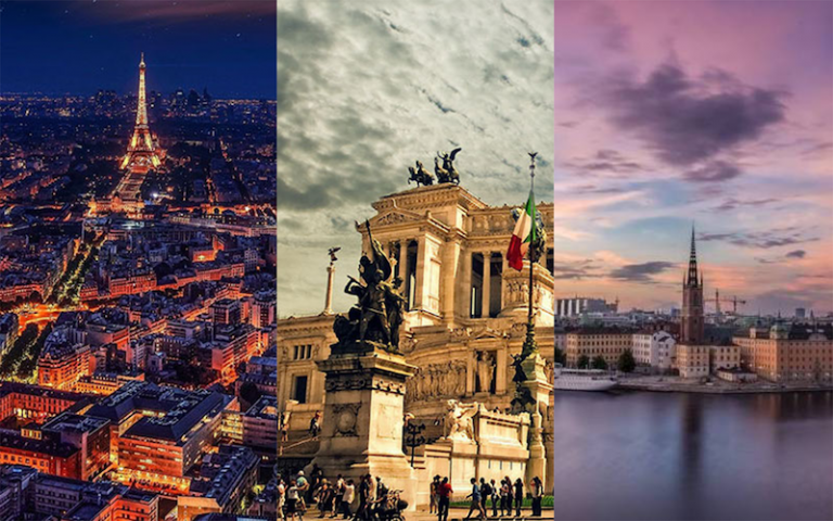 Stitch pic of Paris, Rome and Stockholm images