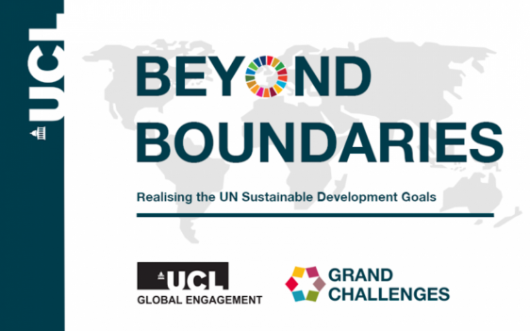 """Poster reading """"Beyond Boundaries: Realising the UN Sustainable Goals"""""""