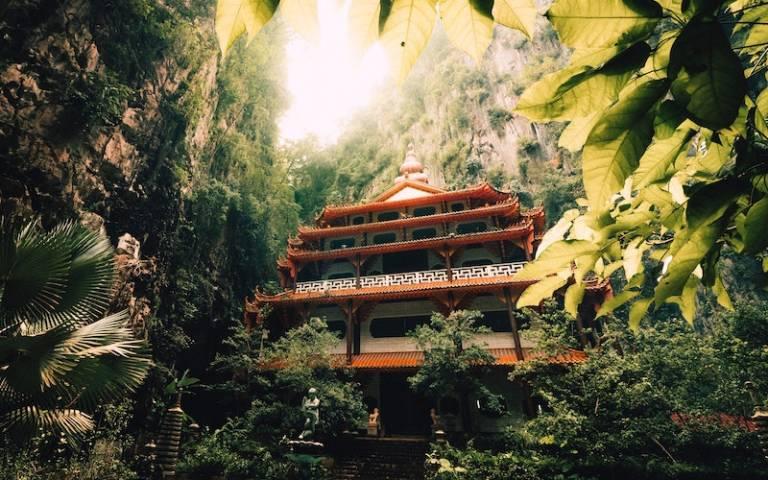temple in Malaysia in lush green surroundings