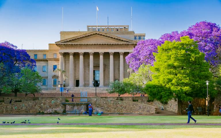 Exterior view of the Great Hall at University of the Witwatersrand in Johannesburg