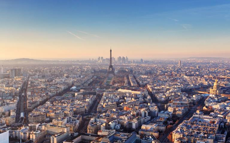 wide aerial shot of paris