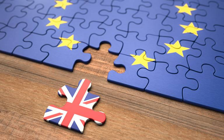 United Kingdom leaving the European Union represented in puzzle pieces