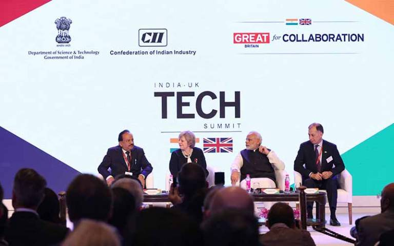 Prime Ministers Theresa May and Narendra Modi at the opening of the 2016 India-UK TECH Summit. Image: British High Commission New Delhi…