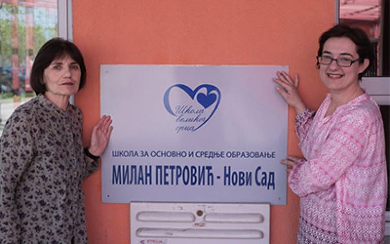 Dr Alexandra Perovic (right) with Slavica Markovic, head of Dr Milan Petrovic Primary & Secondary School, in Novi Sad, Serbia…