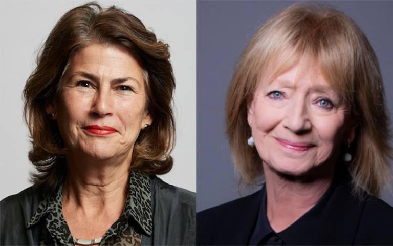headshots of Dame Nicola Brewer and Dame Hazel Genn