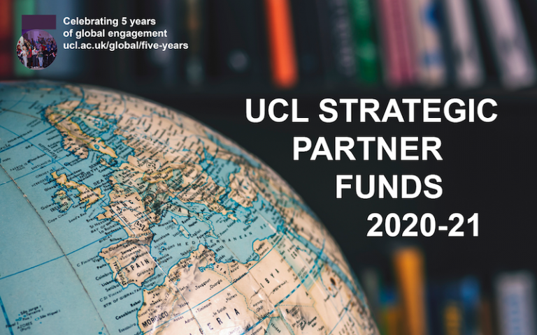 """globe in front of bookcase with the words """"UCL Strategic Partner Funds 2020-21"""""""