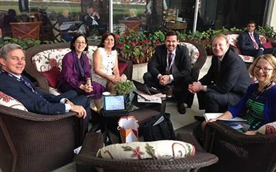 L-R: Roger de Montfort, Prof Marie Lall, Prof Eli Keshavarz-Moore, Dr Jason Blackstock, Prof Patrick Wolfe and Lesley Hayman at the India-UK TECH Summit…