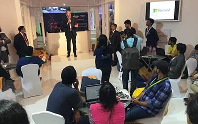 Professor Patrick Wolfe addresses hackathon participants at the India-UK TECH Summit…