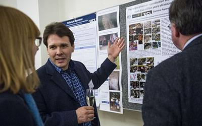 Recipients of the Global Engagement Funds showcased posters highlighting their research at the celebration event…