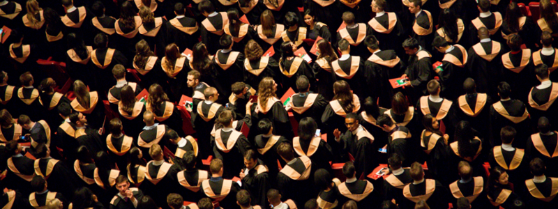 Students in graduation robes