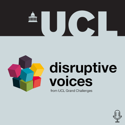 an image of the disruptive voices podcast artwork, with colourful cubes and a podcast icon.