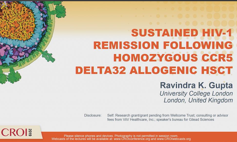 Prof Gupta presents 'Sustained HIV-1 Remission following homozygous CCR5 Delta32 allogenic HSCT' at CROI 2019