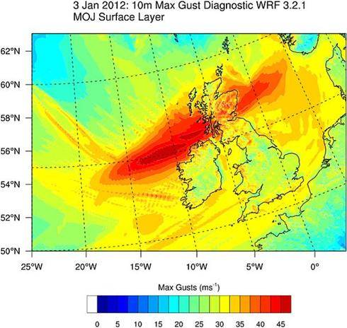 Simulated maximum diagnosed surface wind gusts (m/s) for windstorm 'Ulli', 18 UTC  02 Jan to 12 UTC 3 Jan 2012.