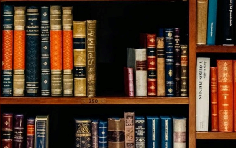 journals library books on shelf
