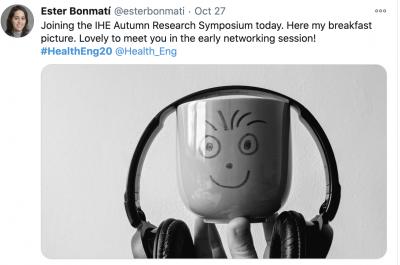 Ester's photo of her coffee mug wearing headphones