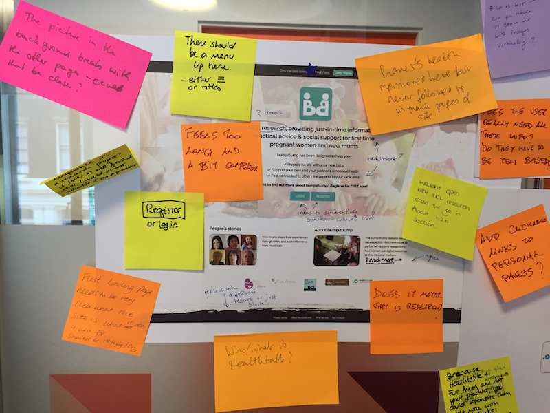 Screenshot of the bump2bump website with feedback on sticky notes