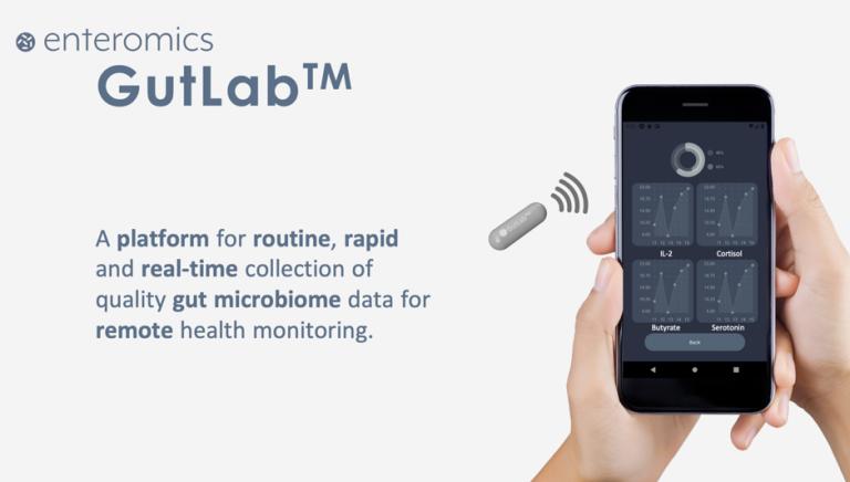 Photo visualisation of GutLab platform on mobile phone