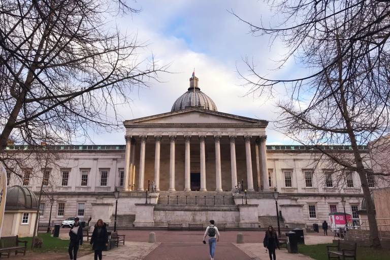 photo of UCL main quad and blue sky