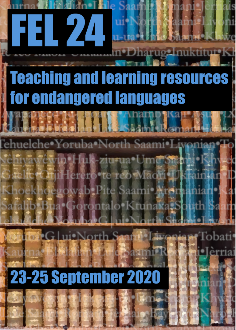 poster for FEL conference with books and text incliding the title and dates