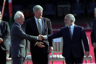 PM Yitzhak Rabin and King Hussein shaking hands after the signing of the Israel-Jordan Peace Treaty