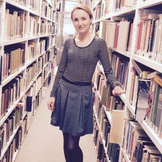 Ela in the SSEES library at UCL